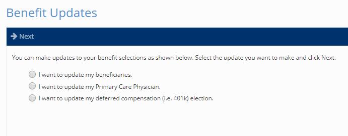 benefit updates screen
